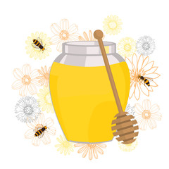 Flower honey.  Vector illustration.