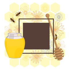 Flower honey.  Vector frame