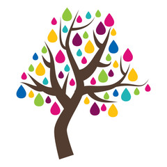 Party tree icon, colorful leaves and flowers, isolated on white background