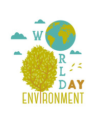 World environment day. Typography poster with Earth globe, tree and clouds. Concept design for banner, greeting card, t-shirt, print, poster. Vector illustration