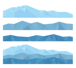 Aluminium Prints Blue jeans vector isolated flat illustration of mountains from geometric shapes of triangles, create your mountain landscape!