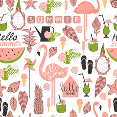 Vector seamless summer pattern with flamingo, tropical plants and ice cream.