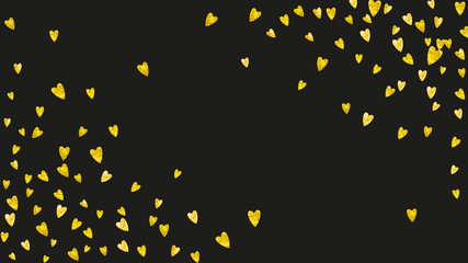 Heart confetti background with gold glitter. Valentines day. Vector frame. Hand drawn texture. Love theme for voucher, special business banner. Wedding and bridal template with heart confetti.