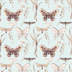 Watercolor butterfly seamless pattern. Hand drawn summer texture with various moth on pastel background. Repeating wallpaper design