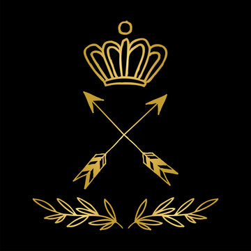Hand drawn golden logo vector illustration with crown, arrows and olive branches on dark background
