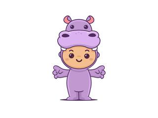 Cute little boy wearing purple hippo onesie vector cartoon illustration in kawaii style