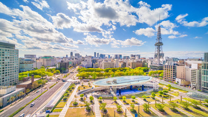 Nagoya downtown skyline in  Japan