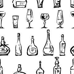Pattern of the wine glasses and bottles sketches