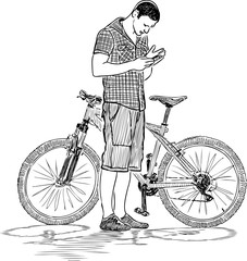 Sketch of a cyclist with a cell phone