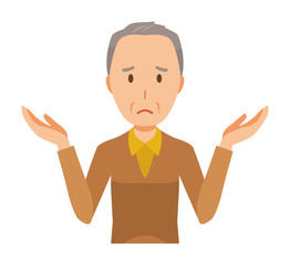 An elderly man wearing brown clothes is shrugging his shoulders