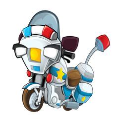 cartoon police motorbike - on white background - illustration for children