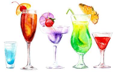 watercolor drawing cocktails
