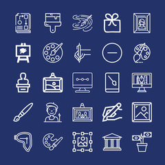 Set of 25 art outline icons