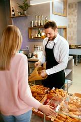 Bakery Shop. Female Customer Buying Fresh Pastry