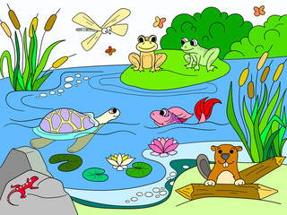 wetland landscape with animals color vector for adults