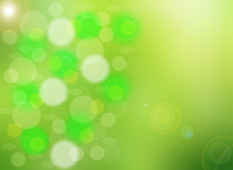 Abstract green light spring bokeh background.