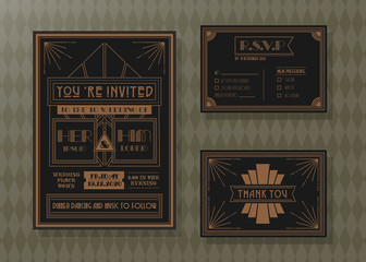 Wedding invitation card vector template set.