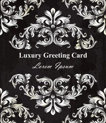 Black elegance Luxury card with Baroque ornament. Vector royal backgrounds
