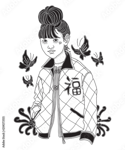 Hand Drawn Asian Fashion Girl With Butterflies Chrysanthemum