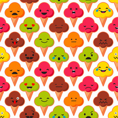 Seamless background with Emotions Ice Cream. Cute cartoon. Vector illustration. Textile rapport.