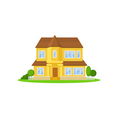 Two-storey yellow house with wooden roof. Little fence, green meadow, trees and bushes on front yard. Home for big family. Flat vector icon