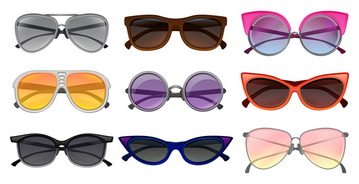 Flat vector set of different types sunglasses. Protective eyewear. Fashion unisex spectacles. Elements for poster or banner of optical store
