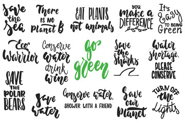 Hand drawn lettering quotes about ecology and nature collections isolated on the white background. Fun brush ink vector calligraphy illustrations set for banners, greeting card, poster design.