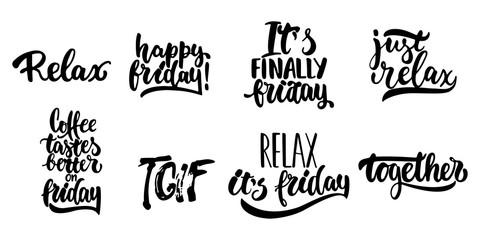 Hand drawn lettering quotes about Friday, TGIF collections isolated on the white background. Fun brush ink vector calligraphy illustrations set for banners, greeting card, poster design.