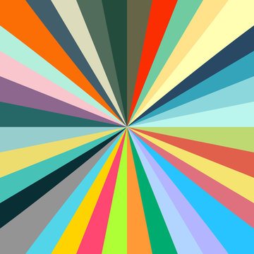 Retro concept vibrant color starburst background.