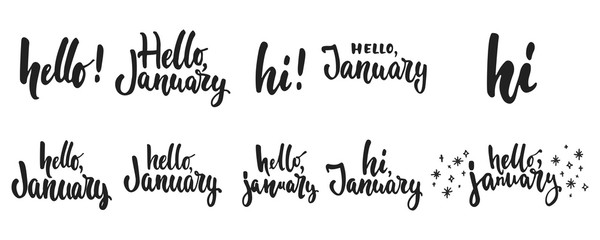Hello, january - hand drawn lettering greeying card collections isolated on the white background. Fun brush ink vector calligraphy illustrations set for banners, poster design.