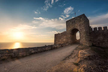 Old fortress at sunrise