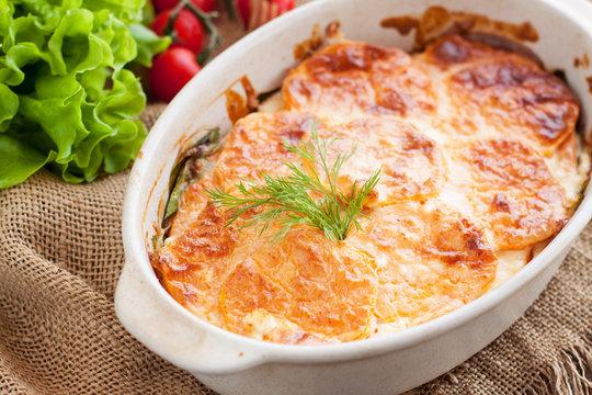 Sweet potatoe, spinach, and feta cheese gratin