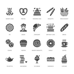 Bakery, confectionery flat glyph icons. Sweet shop products cake, croissant, muffin, pastry cupcake, pie. Food signs, bread house. Solid silhouette pixel perfect 64x64.