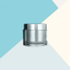 Luxury silver jar with color block background. Minimalist composition