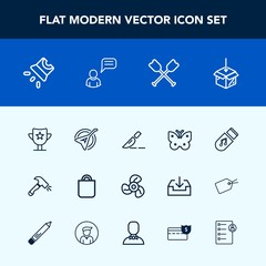 Modern, simple vector icon set with surgery, oar, fan, insect, electric, projection, doctor, cool, folk, ventilator, package, fly, storage, butterfly, video, instrument, equipment, upload, gift icons