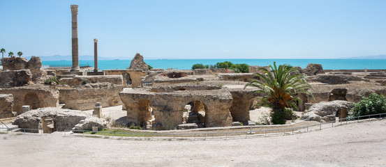 Keuken foto achterwand Tunesië Archaeological excavations. View of Carthage in Tunisia, the road and the Mediterranean Sea. Panorama