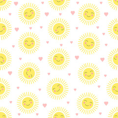 Seamless pattern with a cute sun and hearts. Colorful background.