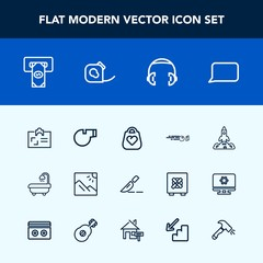 Modern, simple vector icon set with science, launch, strike, id, whistle, card, bathroom, cash, surgery, object, bank, photo, hobby, rocket, modern, sound, business, space, shuttle, music, talk icons