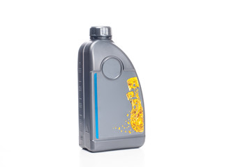 Motor oil. Plastic container with engine oil