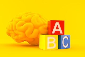 Intelligence background with toy blocks