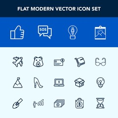 Modern, simple vector icon set with screen, landscape, bag, frame, notebook, glasses, web, flight, computer, airplane, high, credit, bear, sunglasses, mountain, fashion, find, nature, sun, bank icons