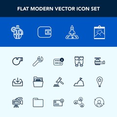 Modern, simple vector icon set with sport, sign, hand, folder, space, grenade, legal, air, bag, law, optical, view, equipment, repair, helicopter, picture, business, transportation, tool, money icons