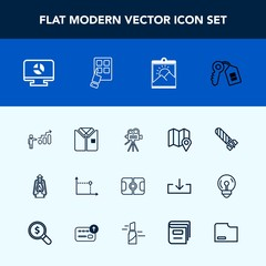 Modern, simple vector icon set with chart, house, success, key, pitch, sign, lantern, personal, vintage, business, metal, retro, lamp, door, power, geometry, pin, video, bomb, kerosene, fire icons