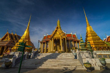 Wat Phra Kaew, Temple of the Emerald Buddha with blue sky Bangkok, Asia Thailand