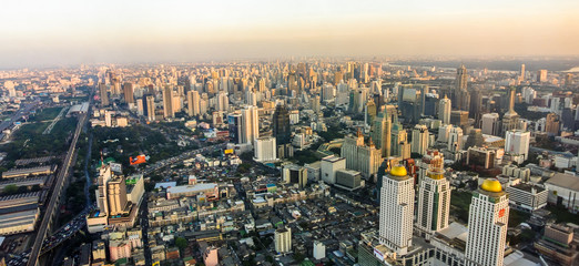 bangkok aerial view with sunset light Fototapete