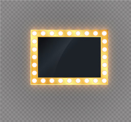 Hollywood lights. Illuminated realistic banner isolated on transparent background. Vector shine string bulbs. Las Vegas casino night party sign. Glowing lights billboard for advertising design