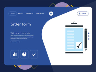 order form Landing page website template design