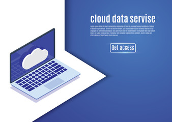 Cloud data storage, web hosting, isometric server vector illustration on a blue background.computer.