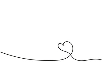 Heart in continuous drawing lines. Continuous black line. The work of flat design. Symbol of love and tenderness.