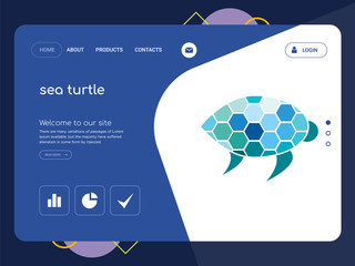 sea turtle Landing page website template design